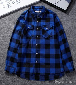 Designer brand off shirt casual classic OW orange base striped shirt sketch line print checkered shirt high quality jacket tops letters