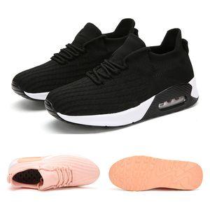 Nuevos deportes venta entera zapatillas de correr para mujeres de los hombres de malla transpirable zapatos de la aptitud negro deportes blancos rosados snaeakers tamaño 35-42 envío libre