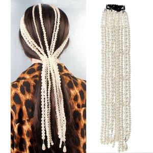 Fashion simple imitation pearl fascinator beaded hair ornaments female temperament pearl tassel handmade hairpin European and American