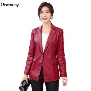 de Orwindny Primavera Mulheres de couro vestuário de couro falso Blazer Casacos de alta qualidade paletó Feminino Plus Size S-4XL Suede