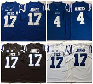 Hombres 17 Daniel Jones 2019 Duke Blue Devils Camiseta de fútbol Myles Hudzick College Home Blue 4 Myles Hudzick Camisetas de fútbol cosidas M-XXXL