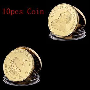 Lot Afrique du Sud Livraison gratuite, Krugerrand Pure plaqué or Coin Paul Krugerrand Coin ronde en acrylique cas