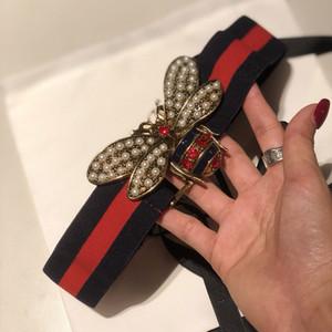 Vente chaude 2019 Mode abeille rouge Boucle Hommes Femmes Ceintures de luxe de style européen haute ceinture tressée waistbands élastique pour le cadeau 5682
