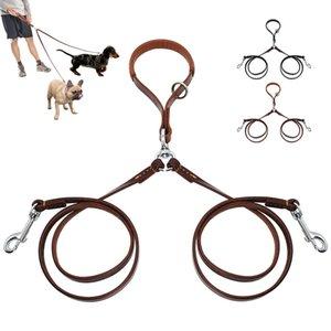 2 Yolları Köpek Tasma Çift Iki Pet Deri Yürüyüş Ve Eğitim Için Kolu Ile Notangle Çoğaltıcı Açar Talepleri 2 Küçük Orta Köpekler Q190430