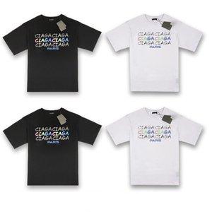 20ss Nuovo fluorescente gradiente di stampa della lettera maglietta casuale Moda Uomo Donne High Street coppia di designer allentato T-shirt HFXHTX097