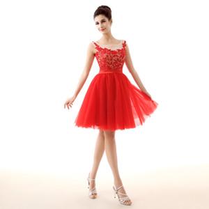 SH0010 세련된 특종 - 라인 얇은 명주 그물 붉은 칵테일 드레스 레이스 아플리케 진주 구슬 여성 칵테일 드레스 띠 몸통 우아한 댄스 파티 드레스