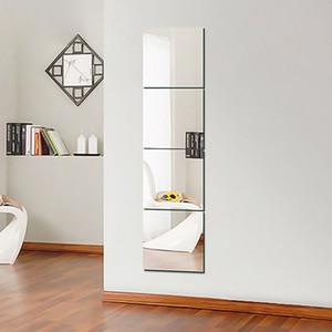 4шт Декоративные самоклеющиеся 3D Плитка мозаика стены Зеркальный эффект площадь комнаты DIY Home Decor наклейки 30x30cm Y200103