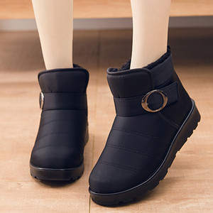 Women Winter Shoes Solid Color Snow Boots Plush Inside Antiskid Bottom Keep Warm Waterproof Ski Boots Size 35-40