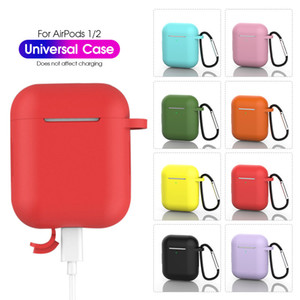 1.5MM Thick Non-slip Universal Plain Slim Silicone Earphone Shockproof Cover Case With Hook For Airpods 1 2 1 2