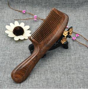 Natural Gold Sandalwood Peine de madera Cepillos para el cabello Engrosamiento Mango redondo Peines Barba Peinado del cabello Peine Masajeador de cabeza