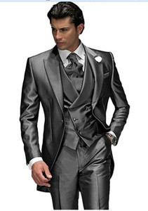 Grau Smoking 3 Stücke Männer Anzüge Spitzenkragen Slim Fit Abend Party Prom Anzug Hochzeit Bräutigam Smoking Männer Nach Maß (Jakcet + Weste + Pants + Tie)