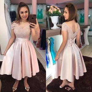 Vestido de la ocasión especial de hombro elegante Off Pink Prom Vestidos de Fiesta 2020 vestidos de coctel cortos Vestidos formales de encaje