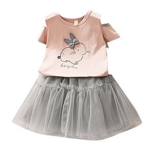 Summer Girls Sets Kids Girl Rabbit Pattern Casual Cotton Short Sleeve T-Shirt+ Tutu Skirts Children 2pcs Set Newest