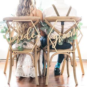 Chaise en bois Bannière Chaise BrideGrooms Signe DIY Décoration de mariage pour fiançailles Fournitures de fête de mariage en vrac Ordre Grand Remise