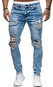 Mens Solide Couleur Crayon Printemps Pantalon de luxe Jeans Hommes Designer Trou Washed Pantalons Distrressed Mode