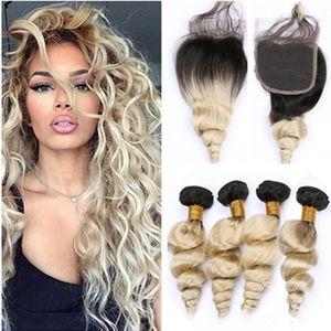 Блондинка Ombre Loose Wave 4 Пучки бразильских девственных волос и закрытие 5шт. Лот № 1B / 613 Ombre Блондинка из человеческих волос с кружевом и закрытием 4х4