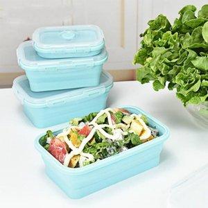 3pcs / set Silikon-Folding Bento Box Portable zusammenklappbare Lunch Box für Lebensmittel Essgeschirr Food Container Bowl für Kinder Erwachsene T200111