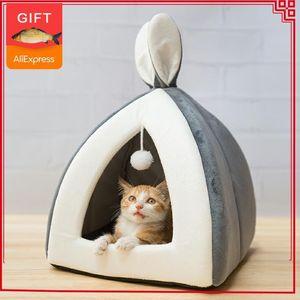 Горячее надувательство Pet Cat Bed Indoor Kitten House теплый маленький для кошек собак гнездо складная кошачья пещера милые спальные коврики зимние товары T200618