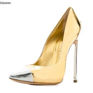 Olomm hecho a mano de las mujeres bombea los talones del estilete atractivo de las bombas de metal tamaño de los zapatos del encanto de punta estrecha partido del oro mujeres magníficas Plus 4-13 de EE.UU.