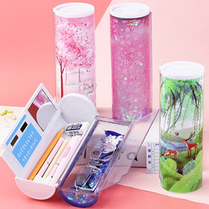Quicksand Translucent Creative Multifunction Cylindrical Pencil Box Case with CalculatorOffice School Stationery Pen Holder for Boys Girls