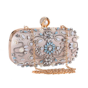 Pink sugao women evening bags women clutch bags BHP new fashion bag handmade beaded evening dress bag evening party bags with diamond