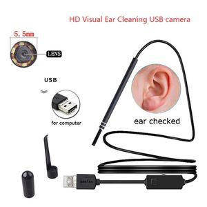 ALK 1 pc 5.5mm Lente USB Ear Cleaning Tool Endoscópio HD Visual Ear Colher Multifuncional Earpick Com Mini Câmera Para PC Windows