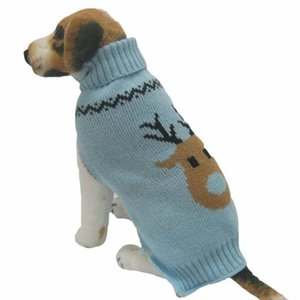 Pet Dog Clothes, Winter Knit Sweater Clothing Warm Deer Head Puppy High Collar Coat (S, Sky blue)
