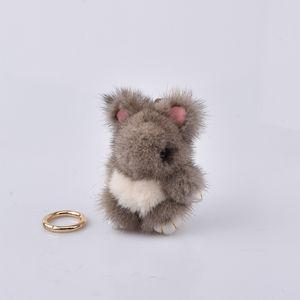 Mini portachiavi coniglio di pelliccia vero visone 8 cm coniglio portachiavi catene chiave di pelliccia bag bunny gingillo pompon pelliccia lepre pendente del telefono
