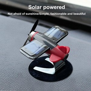 Car Decor Airplane Model Non-slip Mat Solar Energy Rotate Aircraft Dashboard Fou car Auto Accessories