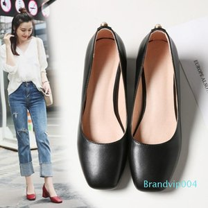 Sexy2019 Square Ways Ancient Single Shallow In The Mouth With Go To Black Occupation Comfortable Work Shoe Woman Size
