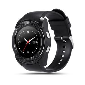 Reloj elegante V8 Hombres Bluetooth relojes deportivos Señoras de las mujeres Rel gio SmartWatch con ranura para tarjeta de Sim de la cámara del teléfono Android PK DZ09 Y1 A1