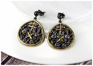 Light Purple Zircon Cristaux élégant Vintage Black Gold Couleur Costumes Femmes Earings goutte Bijoux Fashion Boucles d'oreilles en forme colorul