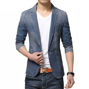 2020 Male Brand Slim Fit Denim Blazer Men Fashion Casual Jeans Jacket Suits Men Clothing Cotton Jean Blazers Coat