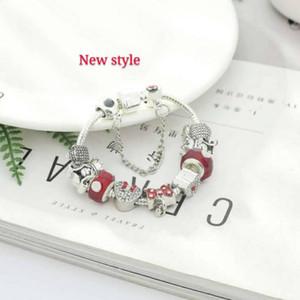 16-21CM 925 encantos de plata se ajustan para la joyería pulsera europea del encanto del grano Accesorios de bricolaje de la boda con caja de regalo para Navidad niña