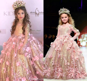 2019 Luxo Sparkly vestido de Baile Flor Menina Vestido Shinny Feitas À Mão Flores Princesa Menina Pageant Vestidos Menina Birtday Pageant Vestido