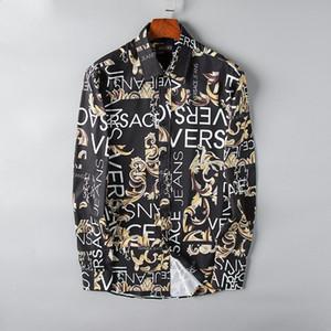 2019 homens de negócios da marca casual camisa dos homens de manga longa listrado slim fit masculina social do sexo masculino t-shirt nova moda homem verificado # 6801 camisa