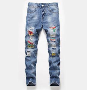 19SS Herren Jeans Fashion Distressed Zipper zerrissene Jeans Herren Designer-dünne Biker Pants Blau Hip Hop-Denim-Hosen