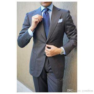 Dark Gray Wedding Tuxedos 2019 Slim Fit Two Button Notched Lapel Business Suits Best Men Suits 3 Piece (Jacket+Pants+Tie)