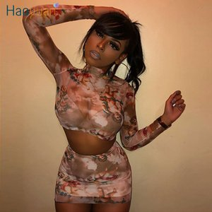 ZOOEFFBB Angel Printe Sexy Mesh Sheer Two Piece Set Women Crop Top and Skirt 2020 Summer Cute Matching Sets Rave Club Outfits T200702