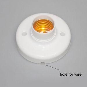 6pcs lot Plastic E27 Base with hole for wire, screw Light Bulb Lamp Socket Holder, White Base Lamp Socket, led light bulb Holder