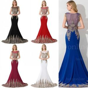 Mermaid Prom Dresses lungo in rilievo gli abiti di sera Sheer collo oro ricamo formale Occasione Abiti CPS235