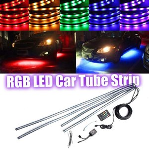 أنبوب RGB LED قطاع تحت سيارة Underglow نديربودي نظام ضوء النيون كيت التحكم عن بعد