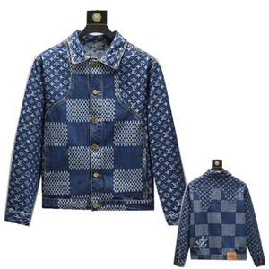 2020 Yeni motosiklet Harf baskı kot ceket yüksek moda ünlü bombardıman Denim İnce rüzgarlık ceket Erkek jean giyim