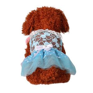 Pet Dog Summer Bottoming Lace Bow Print Dress Clothes Pet Cat Dress Cartoon Pet Dog Hoodie Coat Winter Dog Falda de mascota419