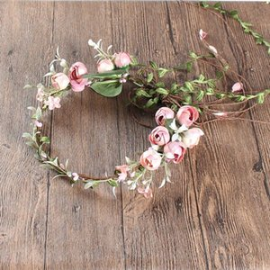 Boda coronas artificiales de Rose Flor Coronas de flores de seda de la boda de novia tocados de fiesta de la playa guirnalda de flores color de rosa rosada del tocado
