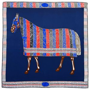 Blue Big 90 Silk Square Scarf Women Female War Horse Print Vintage Shawl Twill Inkjet Scarfs Handmade Curling