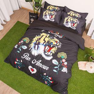 Mode Tiger Schwarz Bettwäsche Set Personality gedruckte Königin King Size 4Pcs Bettbezug Bettlaken Kissen Bettwäsche Set