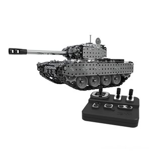 952PCS 2.4G RC Military Tank DIY Assembly set Stainless Steel Remote Control Model Toy Built-in 3.7V Parts & Accessories Electric remote con