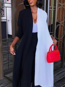 Casual OL solta Amostra Cardigan casacos longos Moda feminina Jaquetas Color Contrast Designer Jaquetas Mulheres duas cores com painéis