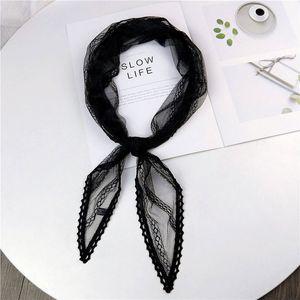 2020 New Summer Black White Pink Green Lace Scarf Women Ladies Stewardess Silk Neck Hair Tie Head Wrap Scarves Kerchiefs Foulard T200609